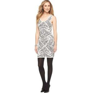 Mossimo Black and White Floral Print Bodycon Dress